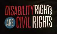 Scritta Disability rights are civil rights